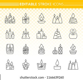 Candle thin line icon set. Outline sign kit of christmas light. Flame linear icons includes church decoration, wick glow, beauty spa. Editable stroke without fill. Candle simple contour vector symbol