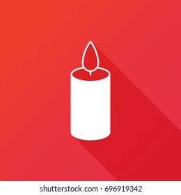 Candle vector icon. Birthday or christmas sign. Spirituality symbol. Logo graphic design concept. Logotype, icon, template in web and print