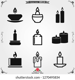 Candle vector icon. Light concept. Can be used for topics like celebration, holiday, decoration. Candles icons