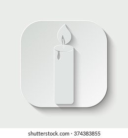 candle vector icon - paper illustration