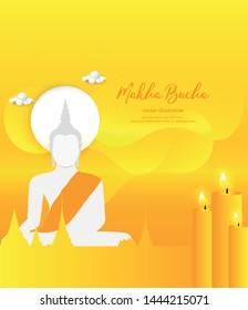 Candle and white buddha statue sit on yellow background - Buddha's Day Buddhist Lent - Magha Asanha Visakha Puja Day