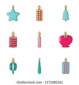 Candlelight icons set. Cartoon set of 9 candlelight vector icons for web isolated on white background