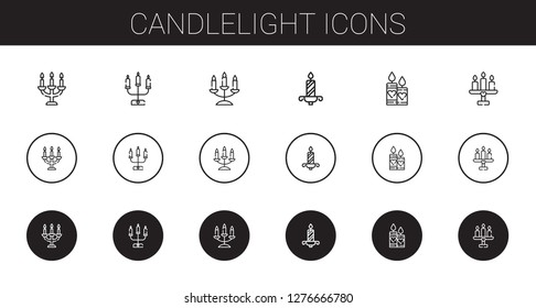 candlelight icons set. Collection of candlelight with candelabra, candle, candles. Editable and scalable candlelight icons.