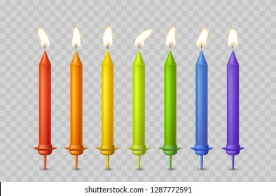 Candles with burning fire flame for birthday cake isolated on transparent background. Set of color wax candles and flame lights. Vector 3D realistic candlelight elements design.