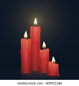 Candles burning, melting, red colored. Vector Illustration on dark background.