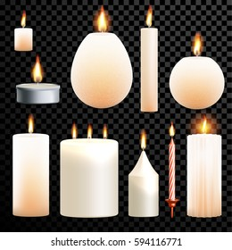 Candles flames set 3D realistic isolated burning on vector transparent background. Decorative scented paraffin wax candle light and candlestick ot tea light