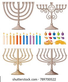 Candles and holders in different designs illustration