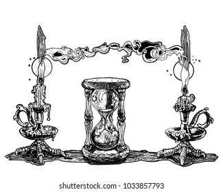 Candles and hourglass. Symbolic image of time. Hand drawn ink pen vector illustration on white background. Occult, witchcraft, ritual, horror, magic, dark, ancient, gothic, tattoo style concept.