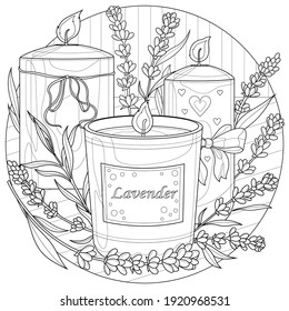 Candles with lavender.Coloring book antistress for children and adults. Illustration isolated on white background.Zen-tangle style. Black and white illustration.Hand draw - Shutterstock ID 1920968531