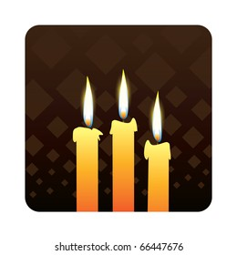 candles od dark background - realistic illustration