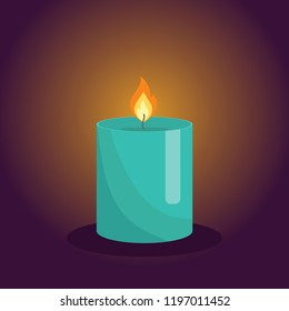 Candles on dark background. Aromatherapy and relaxation burning candle with aromatic plant and essential oils for spa. Elements for new year, christmas cards and romantic. Vector illustration