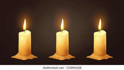 Candles on dark background, vector.