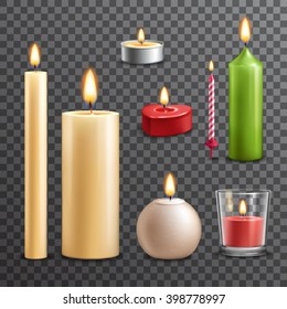 Candles realistic 3d set isolated on transparent background vector illustration