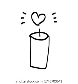 Candles romantic logo, symbol of kindness and tender heart, love and charity emblem.Vector Illustration. Realistic dry macaroni, for cards, posters, postcard  design, logo, for printed matter.