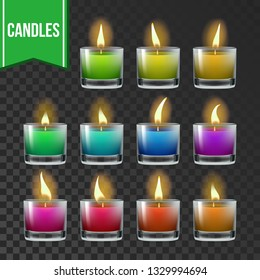 Candles Set Vector. Glass Jar. Paraffin Symbol. Meditation Element. Decorative Icon. Transparent Background. Isolated Realistic Illustration
