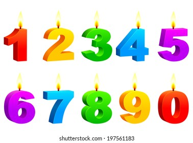 Candles in a shape of numbers.