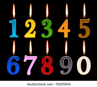 Candles Shape Of Numbers To Decorate The Birthday Cake