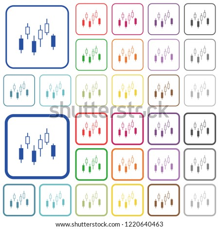 Candlestick Chart Color Flat Icons Rounded Stock Vector Royalty