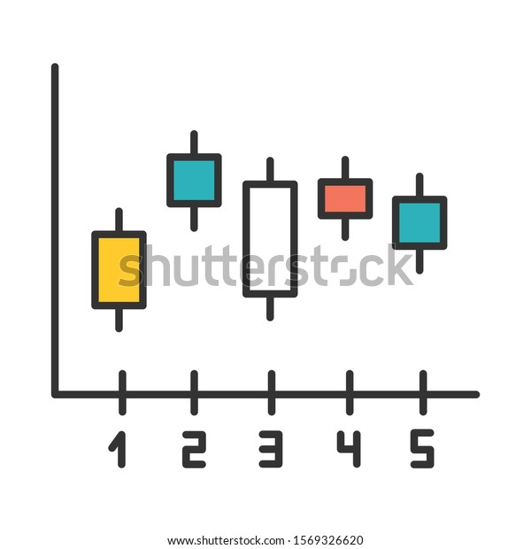 Candlestick chart color icon. Box plot graph. Business diagram. Finance report. Economical research. Marketing infochart. Data presentation and visualization. Isolated vector illustration