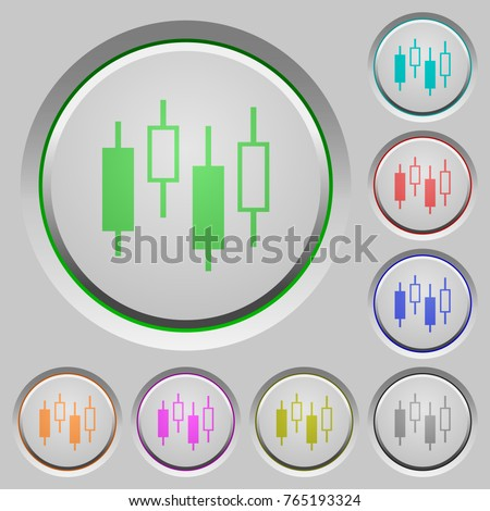 Candlestick Chart Color Icons On Sunk Stock Vector Royalty Free