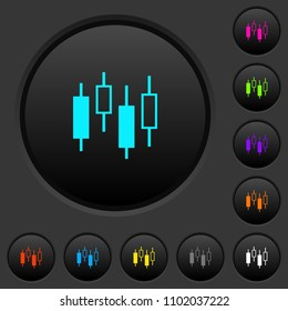 Candlestick chart dark push buttons with vivid color icons on dark grey background