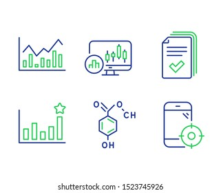 Candlestick chart, Efficacy and Infochart line icons set. Handout, Chemical formula and Seo phone signs. Report analysis, Business chart, Stock exchange. Documents example. Science set. Vector