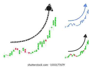 Candlestick chart growth trend composition of small circles in different sizes and color tones, based on candlestick chart growth trend icon. Vector filled circles are composed into blue composition.