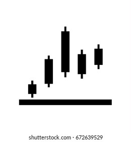 candlestick chart icon, simple graph vector