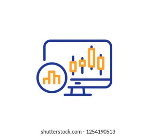 Candlestick chart line icon. Analytics graph sign. Market analytics symbol. Colorful outline concept. Blue and orange thin line color Candlestick chart icon. Vector