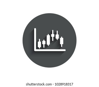 Candlestick chart simple icon. Financial graph sign. Stock exchange symbol. Business investment. Circle flat button with shadow. Vector