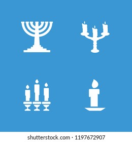 Candlestick icon. collection of 4 candlestick filled icons such as menorah. editable candlestick icons for web and mobile.