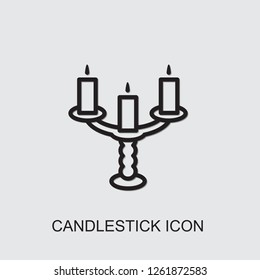 candlestick icon . Editable outline candlestick icon from restaurant. Trendy candlestick icon for web and mobile.