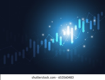 Candlestick stock exchange chart market investment trading with world map, Business graph. trend of graph design. Vector Illustration