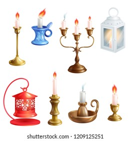 Candlestick vector candle lantern vintage candlelight decoration and old candelabrum holder illustration set of antique candelabra fire light lamp isolated on white background