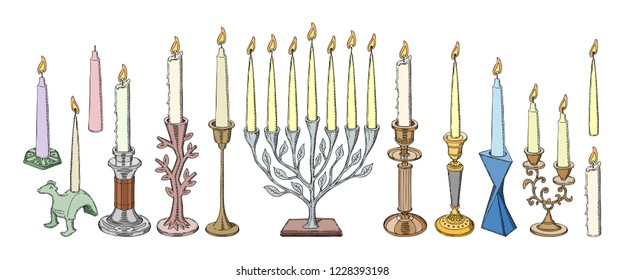 Candlestick vector candle lantern vintage candlelight decoration and old candelabrum holder illustration set of antique candelabra fire light design decor isolated on white background