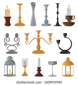 Candlestick vector candle lantern vintage candlelight lantern decoration and old candelabrum holder illustration set of antique candelabra fire light design decor isolated on white background