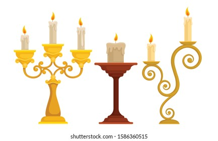 Candlesticks with Burning Candles Vector Set. Vintage Candle Holders and Candelabrums