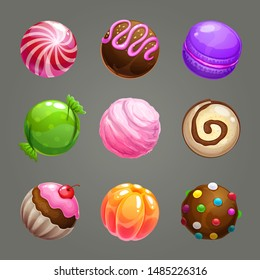 Candy balls set. Round sweet assets for game design. Vector GUI elements.
