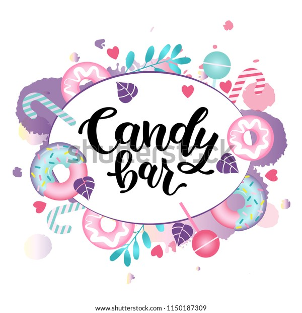 Candy Bar Vector Illustration Lettering Sweetstuff Stock