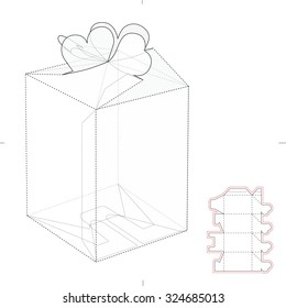 Candy Box with Heats Top Lock and Die Cut Template