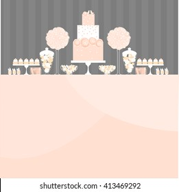 Candy Buffet with cake and flowers. Wedding dessert bar. Birthday sweet table. Vector illustration