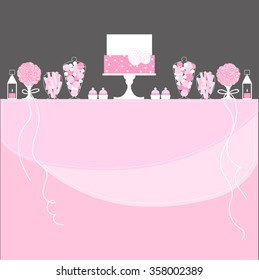 Candy Buffet with cake, lanterns and flowers. Wedding dessert bar. Birthday sweet table. Vector illustration.