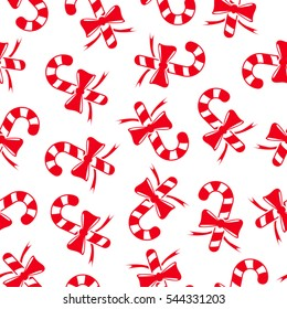 Candy cane background. Seamless pattern.