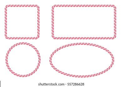 Candy cane border frames set. Vector illustration. Hard candy decoration.