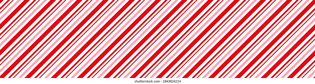 Candy cane Christmas background, peppermint diagonal stripes print seamless pattern