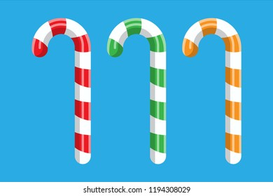 Candy cane. Christmas candy. Lollipop stick sweetness candycane. Happy new year decoration. Merry christmas holiday. New year and xmas celebration. Vector illustration in flat style