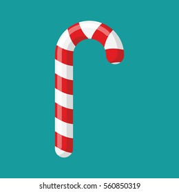 Candy cane. Christmas Mint candy red isolated. lollipop Peppermint stick sweetness for new year