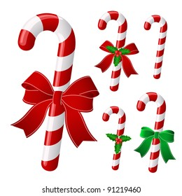 Candy cane collection with ribbon and holly . Vector