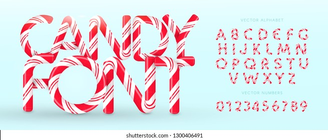 Candy cane font. Vector alphabet and numbers. Sweet candy, lollipop latin letters. White letters with red stripes. Circus and clown monogram and poster template. Typography design.