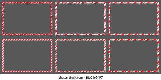 Candy cane  frames  set christmas. Collection of Xmas striped border with copyspace. Rectangle background for banner or christmas card. Vector, holiday wallpaper illustration.